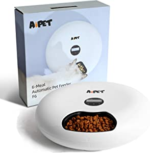AIPET Automatic Pet Feeder for Dogs and Cats, 6 Meals Programmable Timer Dry and Wet Food Dispenser, Donuts Shape Your Pet Can Eat on Time by Dual Power Auto Feeder