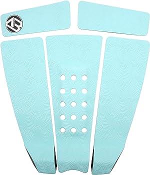 AQUBONA 5 Piece EVA Surfboard Deck Traction Pads with Kicker for Stomp Skimboards, Surf Boards, Funboard, Fish Board/Aqua Blue Gray Black