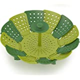 Joseph Joseph Lotus Steamer Basket for Steaming Food and Vegetable Folding Non-Scratch BPA-Free, Green