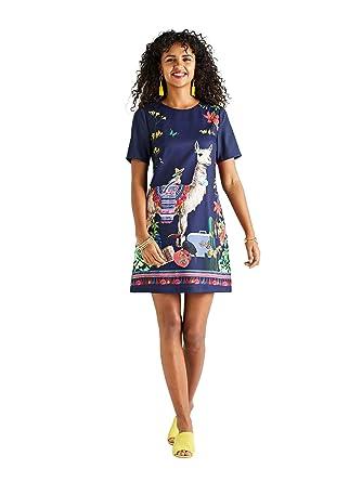 37c1d00b YUMI Llama Placement Print Tunic Dress: Amazon.co.uk: Clothing