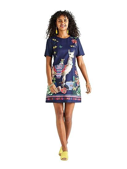 d6f5e9c61af YUMI Llama Placement Print Tunic Dress Navy  Amazon.co.uk  Clothing