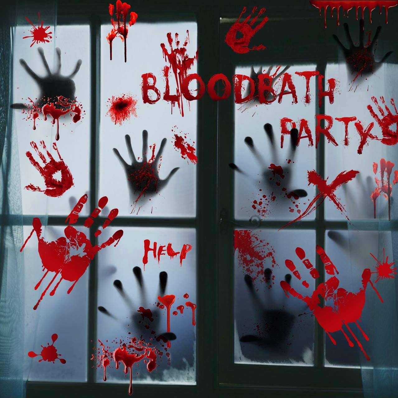 Bloody Handprint Stickers Halloween Decorations - 101PCS Halloween Party Decorations Bloody Window Decals Spooky Wall Floor Clings Horror Bathroom Decor Party Supplies for Haunted House(8 Sheets)