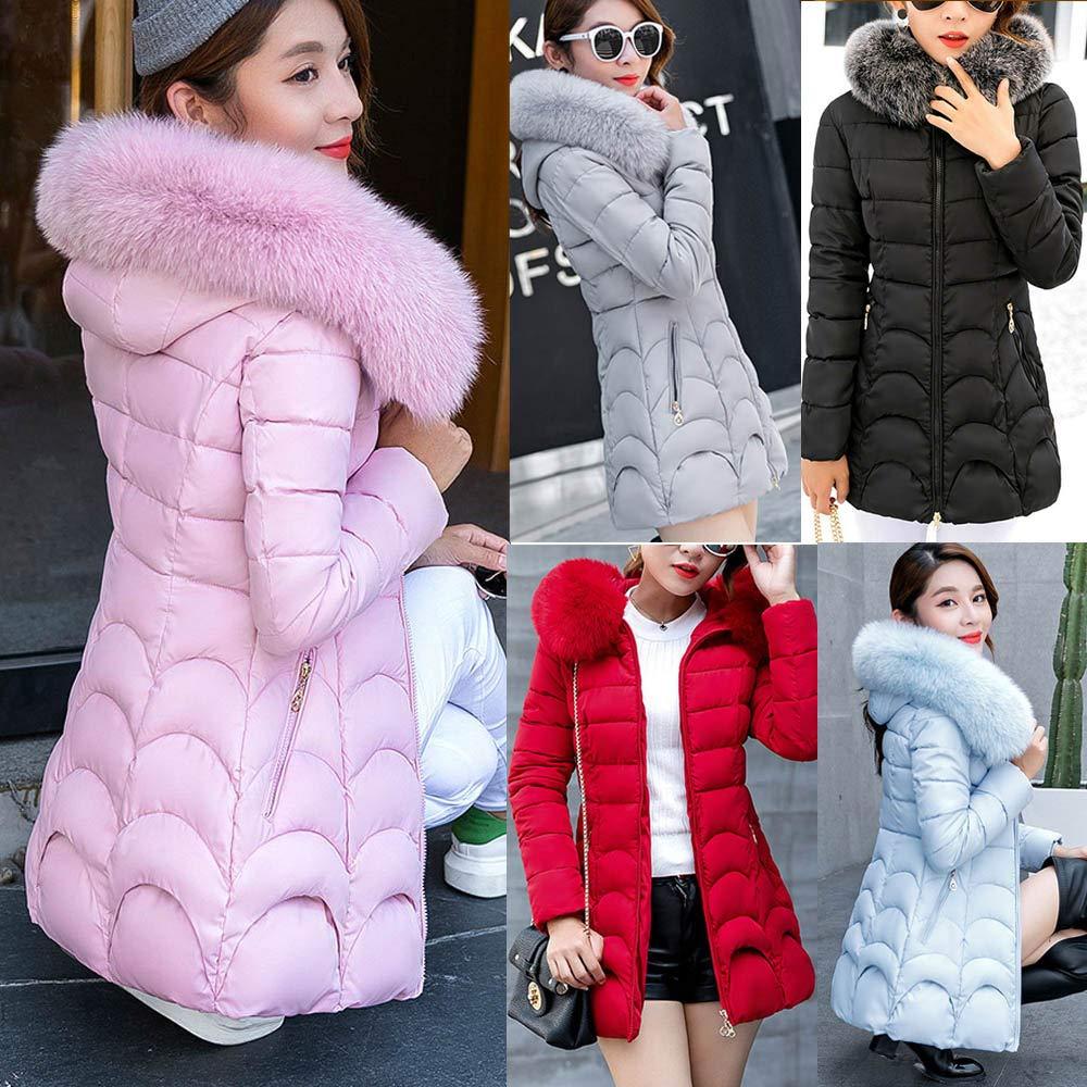 Women Hooded Cotton Parka Slim Outwear Warm Coat Long Thick Fur Collar Jacket