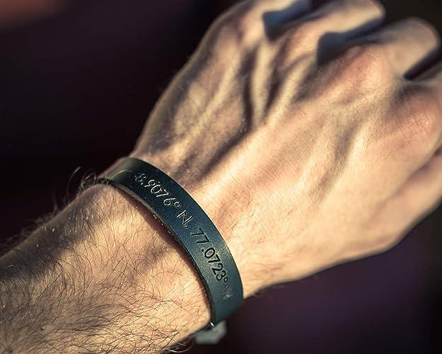 7b93d1ba9c548 Custom engraved black leather bracelet for men, personalized coordinates  bracelet for him