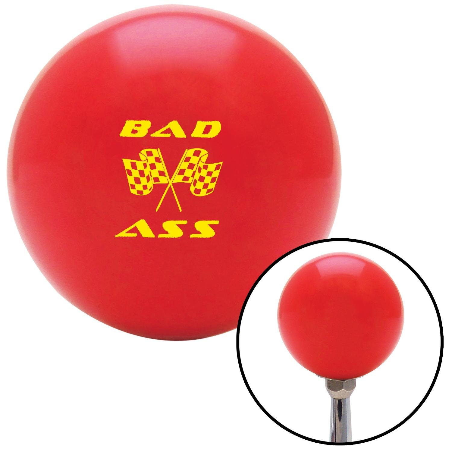 American Shifter 94277 Red Shift Knob with M16 x 1.5 Insert Yellow Bad Ass Flags