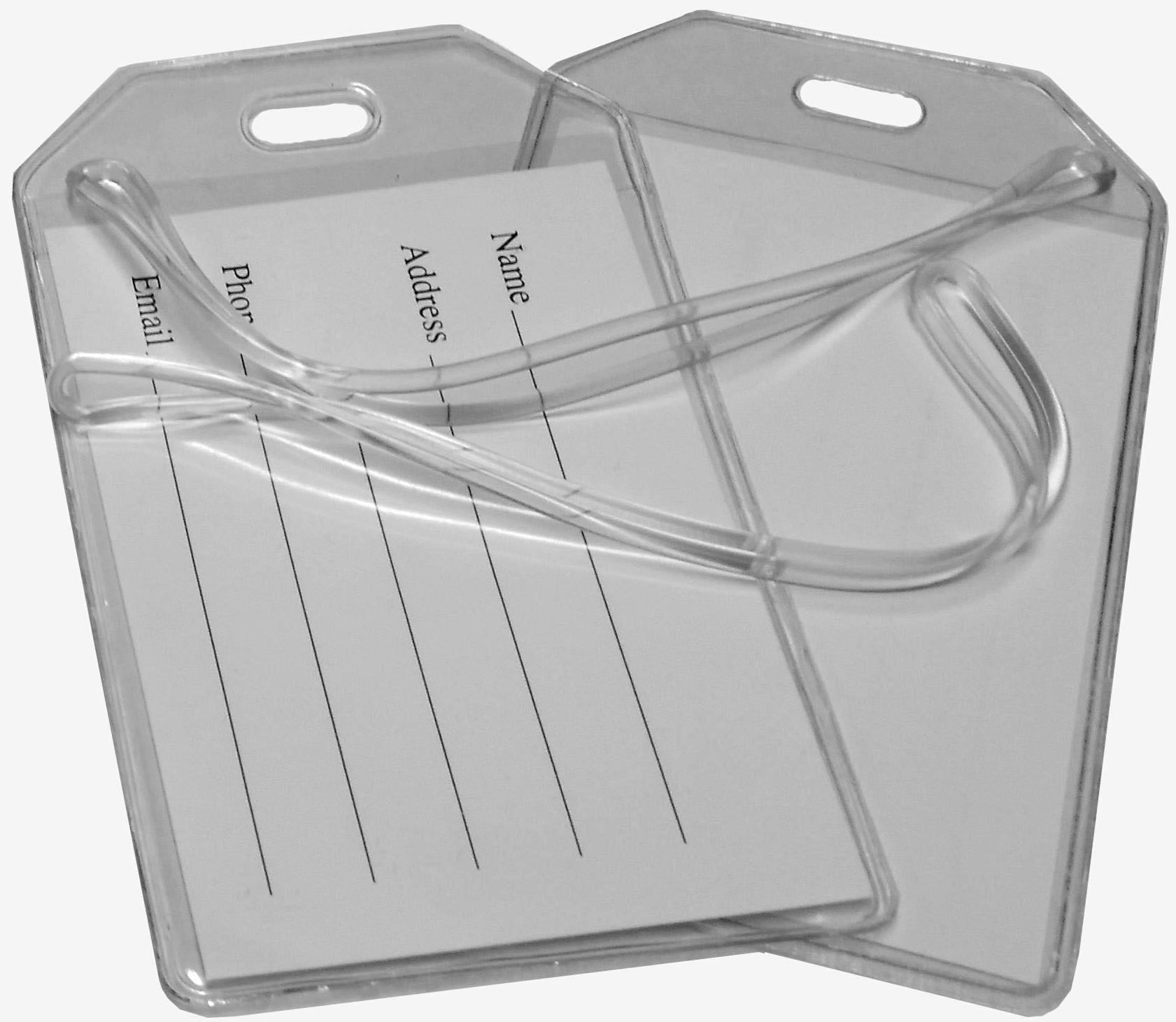 Clear Vinyl Luggage Tags with Loops & Name Cards - Set of 12