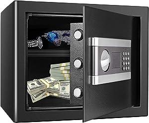 Kacsoo Fireproof Safe Cabinet Security Box, Digital Combination Lock Safe with Keypad LED Indicator, for Pistol Cash Jewelry Important Documents(1.0Cub)