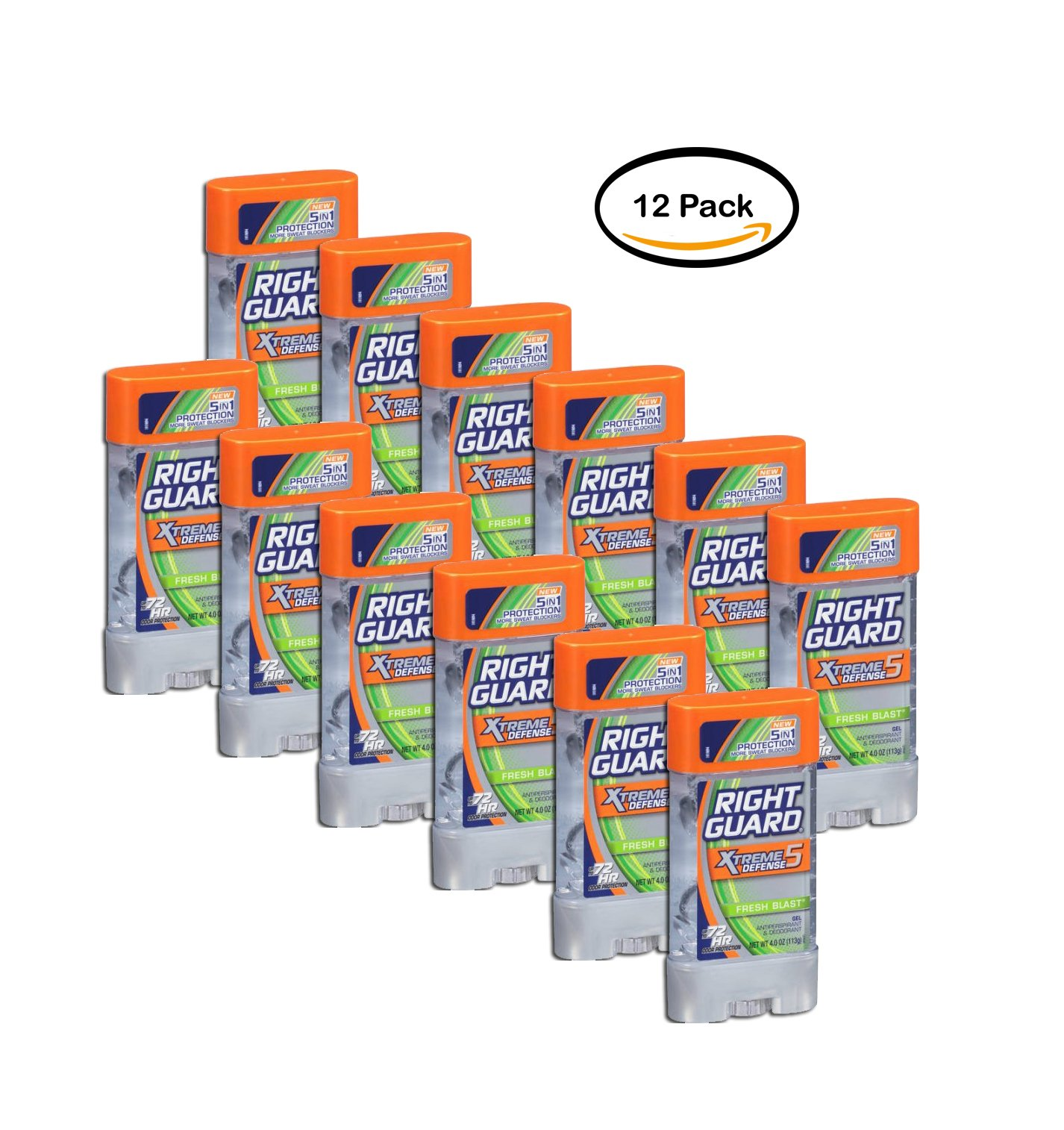 PACK OF 12 - Right Guard Xtreme Defense 5 Antiperspirant Deodorant Gel, Fresh Blast, 4 Oz