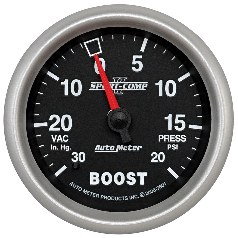 Auto Meter 7601 Sport-Comp II 2-5/8-Inch 30-Inch Hg/20 PSI Mechanical Vacuum/Boost Gauge PRRXE