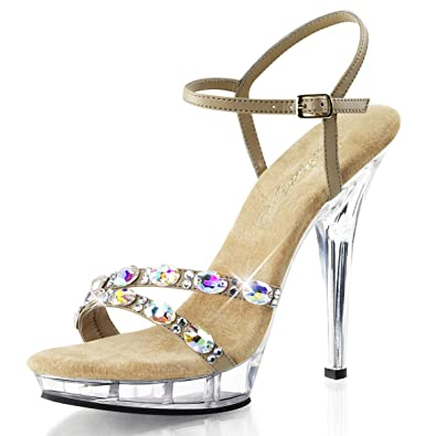 acfbe961a03d Summitfashions Womens Taupe Dress Shoes Ankle Strap Sandals Rhinestone  Clear 5 Inch Heels Size  5