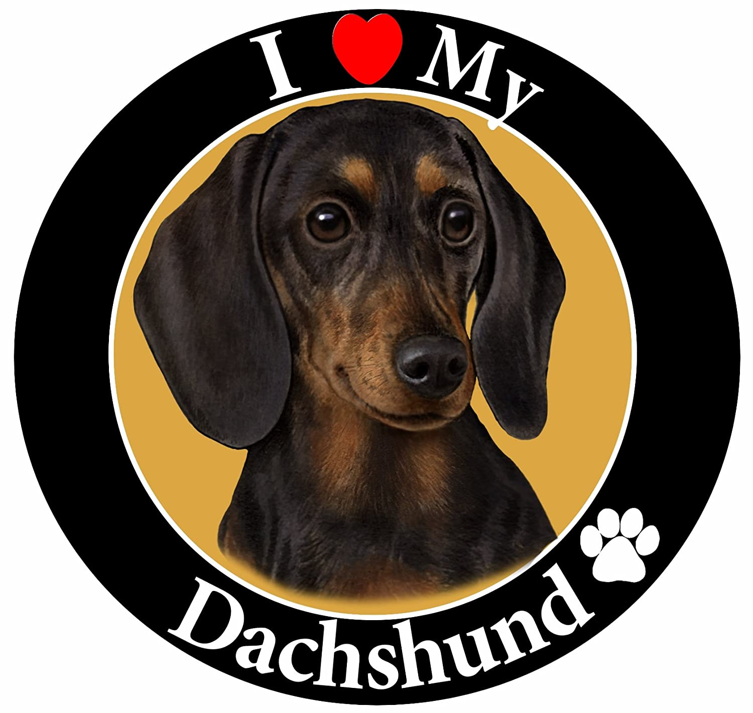 """I Love My Dachshund"" Black Car Magnet With Realistic Looking Dachshund Photograph In The Center Covered In UV Gloss For Weather and Fading Protection Circle Shaped Magnet Measures 5.25 Inches Diameter E&S Imports CM-14 Dachshund car magnet car magnets"