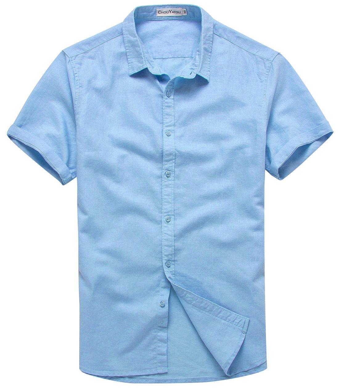 Chouyatou Men's Summer Basic Collar Short-Sleeved Linen Shirts (X-Large, Light Blue)