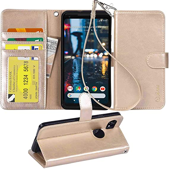 low priced 8ef09 3dbc5 Google Pixel 2 XL case,Arae PU Leather Wallet Case with 3 Card Pockets  Protective Case Flip Cover for Google Pixel 2 XL - Champagne Gold