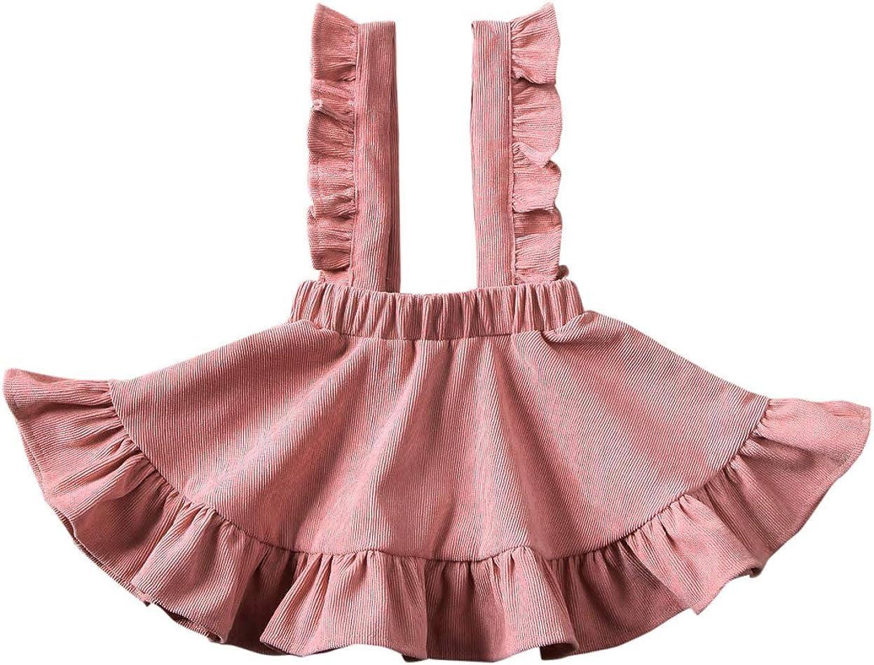 Vohawsa Toddler Baby Girl Velvet Backless Ruffle Strap Overalls Skirt Solid Suspender Tutu Dress Fall Spring Summer Clothes