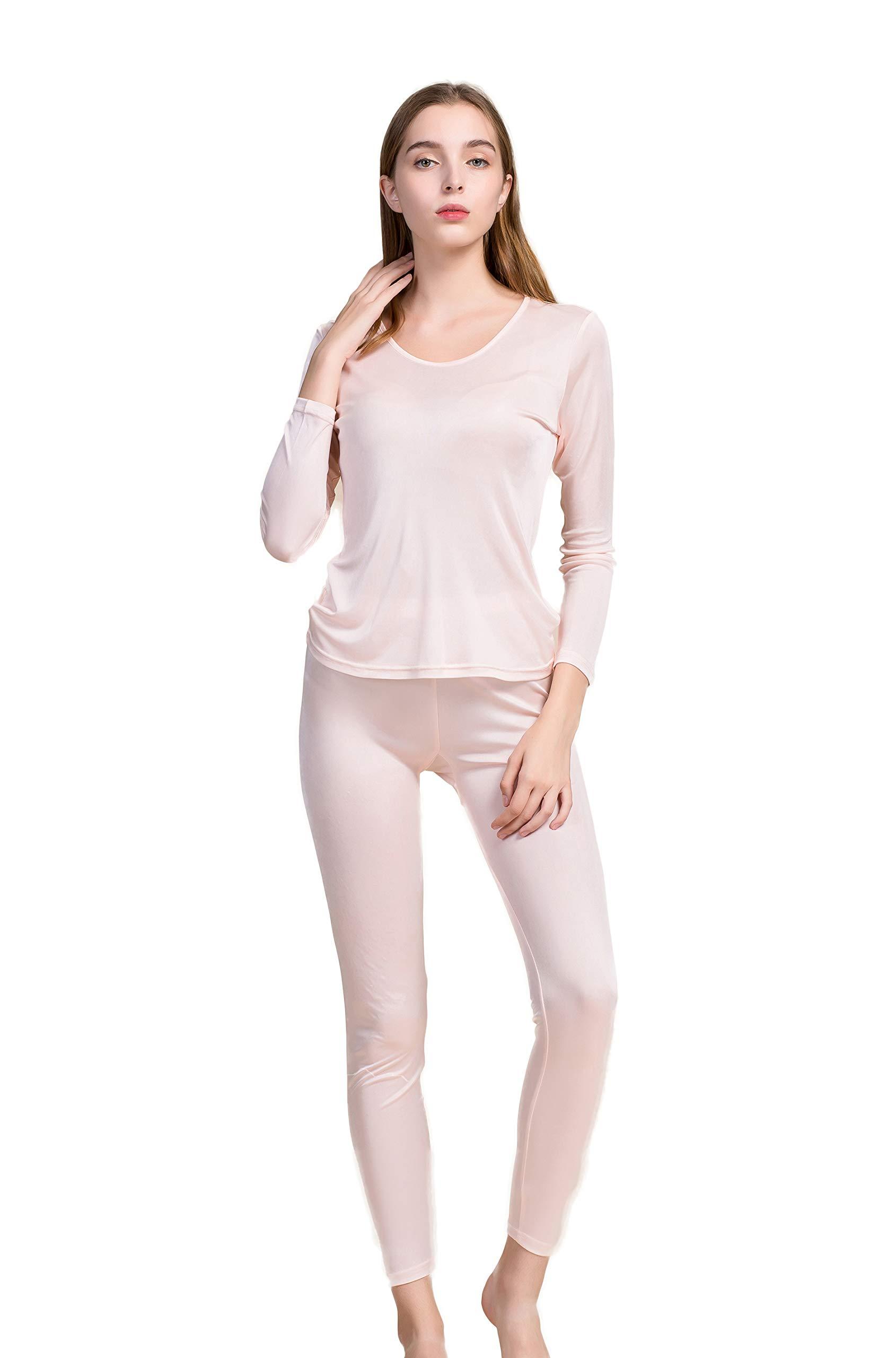 Women's Luxury Silk Long Johns Pajamas Sets Crewneck Nude M