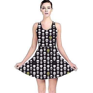 CowCow Womens Black Alien Head Reversible Skater Dress at Amazon ... fbd0b351dd