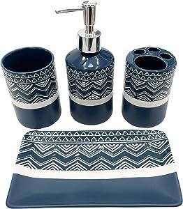 SUNBRIGHT Bathroom Accessories Complete Set 4 Pcs - Soap Dispenser, Toothbrush Holder, Tumbler & Towel Tray - Countertop Vanity Organize