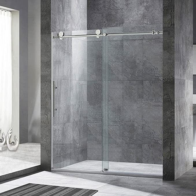 Woodbridge Frameless Sliding Shower Door 44 48 Width 76 Height 3 8 10 Mm Clear Tempered Glass Chrome Finish Designed For Smooth Door Closing And Opening Mbsdc4876 C Amazon Co Uk Diy Tools