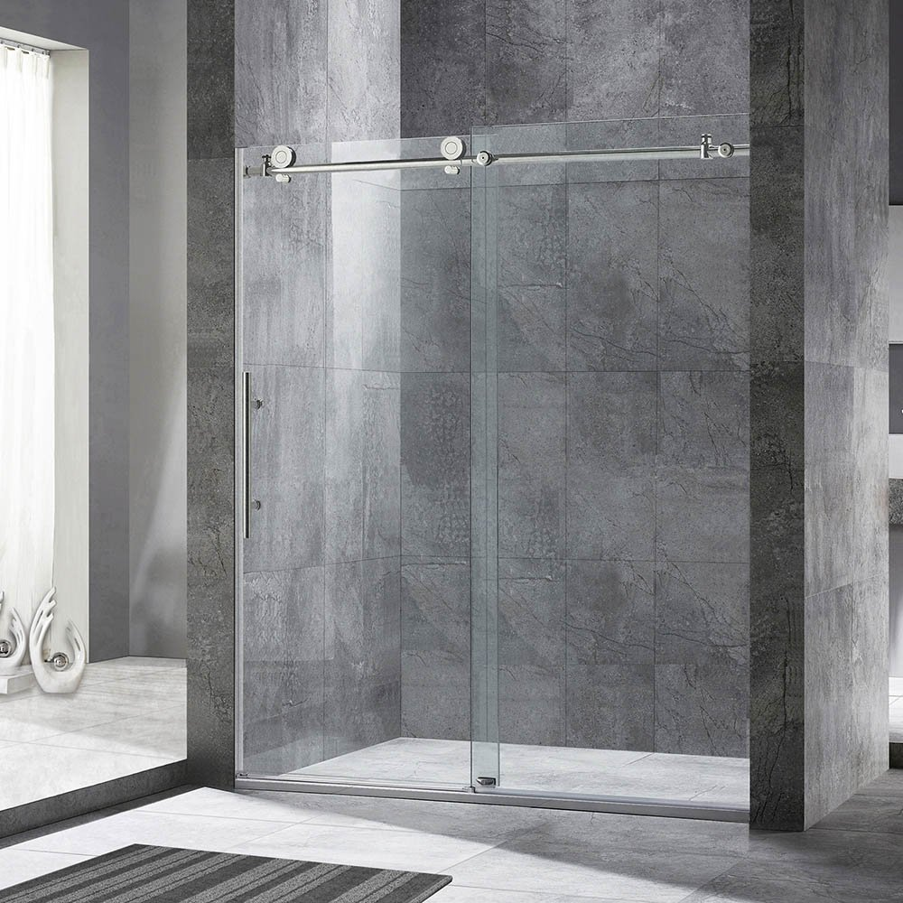 Woodbridge  Frameless Sliding Shower Door, 56'' - 60'' Width, 76'' Height, 3/8'' (10 mm) Clear Tempered Glass, Brushed Nickel Stainless Steel Finish . MBSDC6076-B