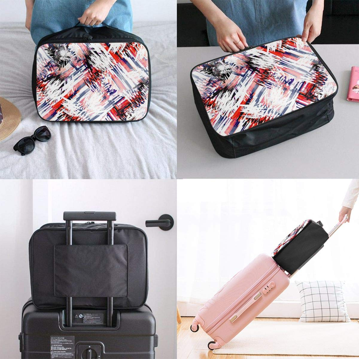 Fuzzy Geometric Pattern Travel Lightweight Waterproof Folding Storage Carry Luggage Duffle Tote Bag Large Capacity In Trolley Handle Bags 6x11x15 Inch