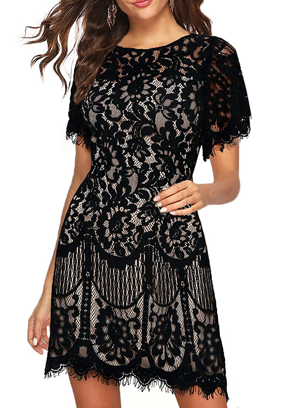 MSLG Womens Elegant Round Neck Short Sleeves V-Back Floral Lace Wedding Cocktail Party A Line Dress 910