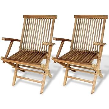 Festnight 2 Stk. Gartenstühle aus Imprägniertes Teakholz Klappstuhl ...