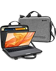 tomtoc Ultra-Slim Shoulder Case for 13-inch New MacBook Air A1932, MacBook Pro A2159 A1989 A1706 A1708, Organized Shoulder Bag with Tablet Pocket for Up to 11 Inch iPad Pro with Smart Case Keyboard