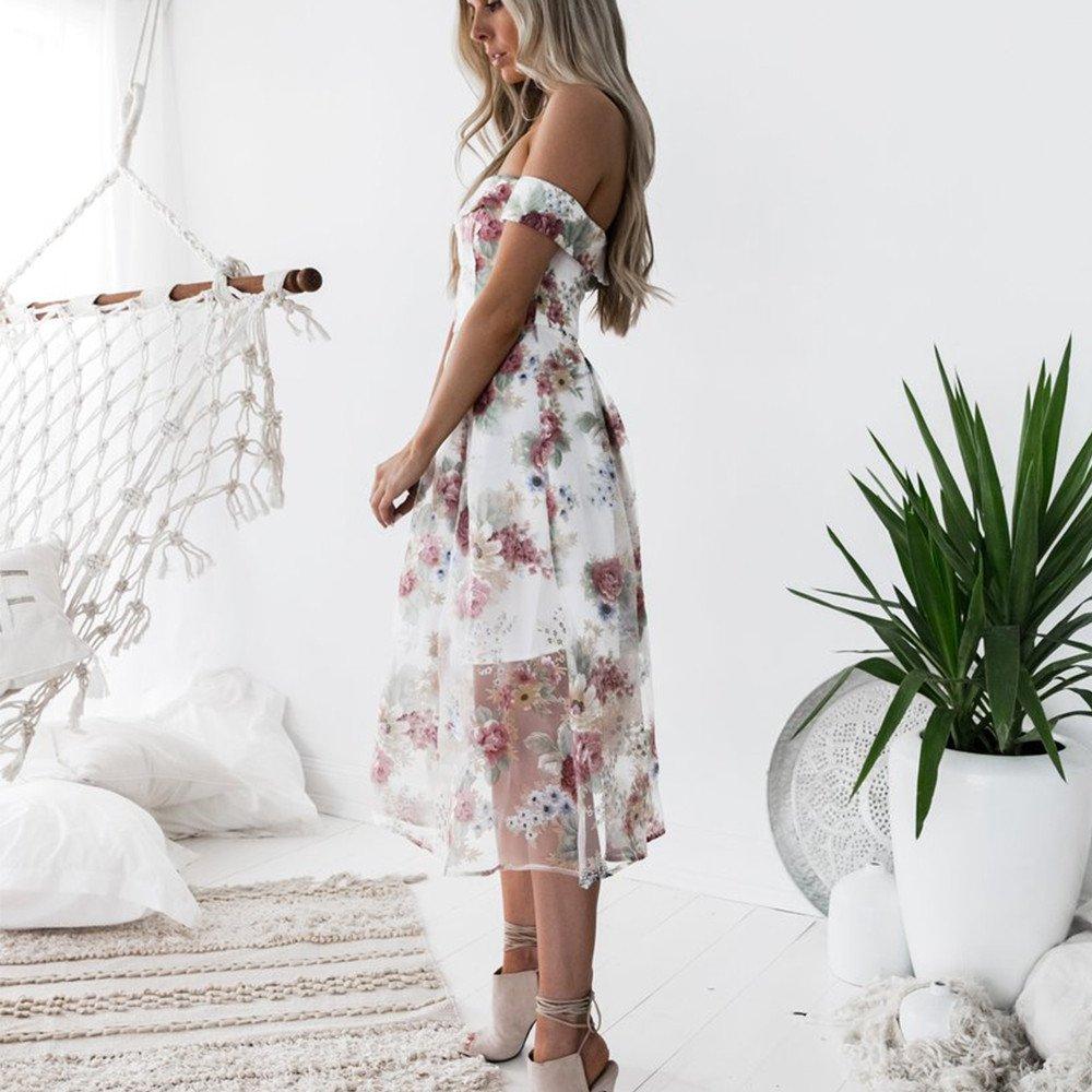 Beikoard Damen Schulterfrei Kleid A-Linien-Kleid Blumen Gedruckt Maxikleid Long Ballkleid Elegant Business Abend Kleid Party Kleid