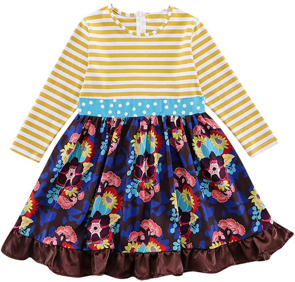 Amazon.com: Toddler Girls Striped Dot Print Bow Knot Floral ...