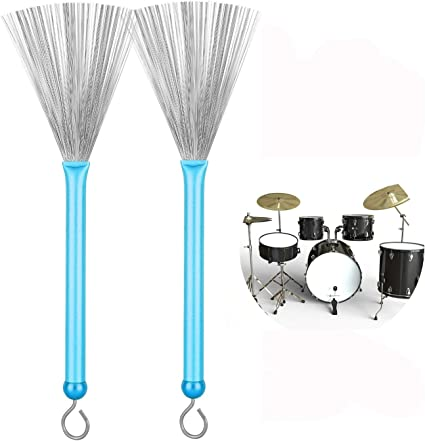 1 Pair Drum Brushes Retractable Drum Wire Brushes Drum Sticks Brush with Comfortable Aluminum Handles Adults Youth Rock Bands Students Beginner Practicing Blue Perfect Gift for Drummer Playing