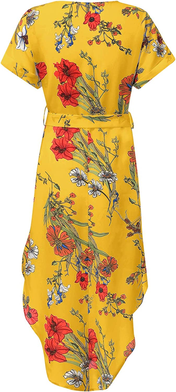 YOINS Sommerkleid Damen Lang V-Ausschnitt Maxikleider f/ür Damen Kleider Strandkleid Strandmode