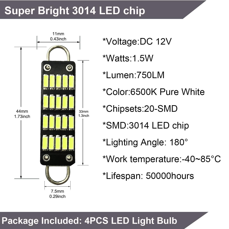 Rigid Loop 1.73 Interior Dome Map LED Lights 561 562 567 564 4-Pack 561 Bulb 44mm Bright White Festoon LED Bulb