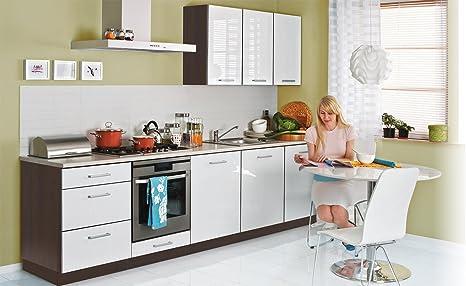 fiwodo Einbauküche 9cm Weiss Hochglanz lackiert - ERWEITERBAR - Küche  günstig Küchenzeile