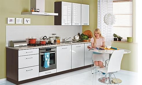 Einbauküche 300Cm Weiss Hochglanz Lackiert - Erweiterbar - Küche