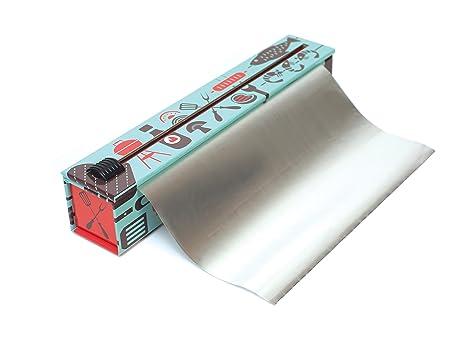 Recargable y Reutilizable Duradero Rollo de 60m x 30cm Incluido Life Story Dispensador de Papel de Aluminio Profesional para Cocina con Cortador Deslizante