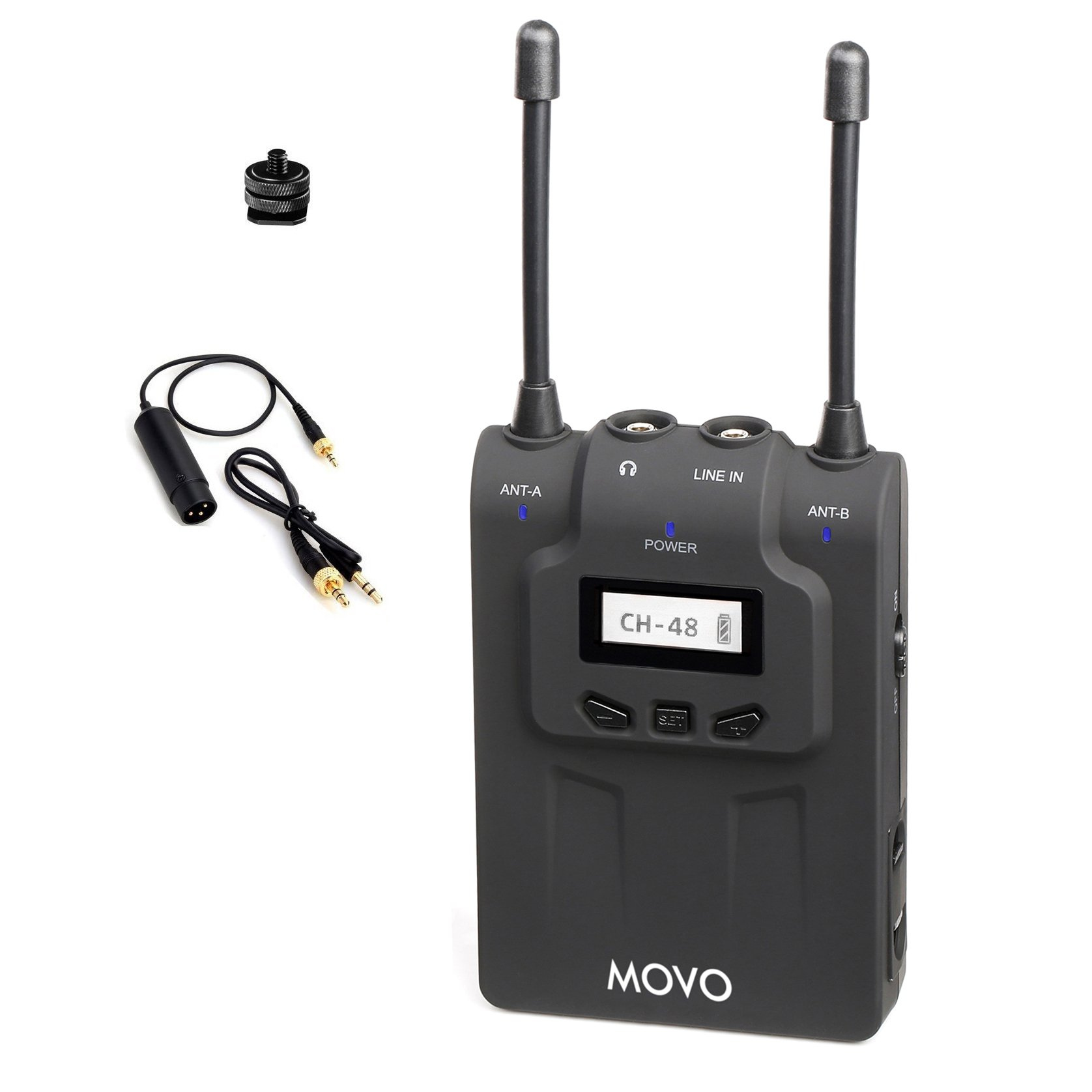 Movo WRX8 48-Channel UHF Wireless Portable Receiver with Camera Mount and XLR / 3.5mm Outputs for the WMIC80 Wireless Microphone System