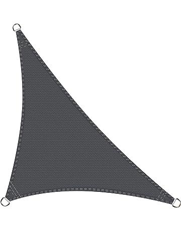 Voile pare-soleil-protection solaire avec cordes de tente et œillets ombrage 400x500cm sable