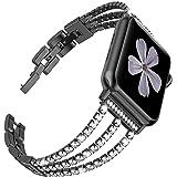 対応 Apple Watch 1/2/3/4バンド Apple Watch Series 4 交換バンド 高級ステンレスバンド ステンレス 調節可能 ビジネス風 ラインストーン付け アップルウォッチ スマートウォッチ 交換バンド (ブラック、38/40mm)