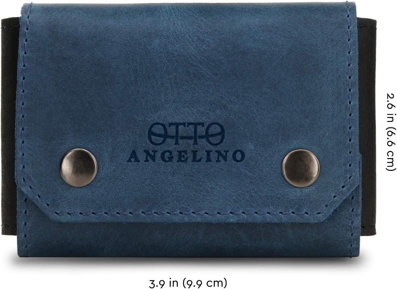 Blu Unisex Otto Angelino Porta Carte di Credito e Biglietti da Visita in Vera Pelle con Chiusura con Linguetta