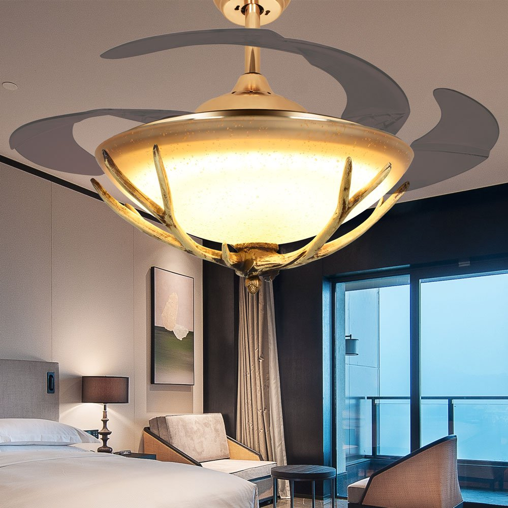 RS Lighting 42-Inch Ceiling Fan with Chandelier Scalable Antlers Fan Light LED Pastoral Creative Lamps for Indoor Living Bed Room Hotel Restaurant
