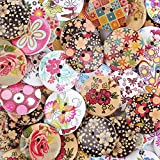 "Crystallove Bulk 2 Holes 30mm Flower Buttons Mixed for Sewing Scrapbooking and DIY Craft (1.2"", 30pcs)"