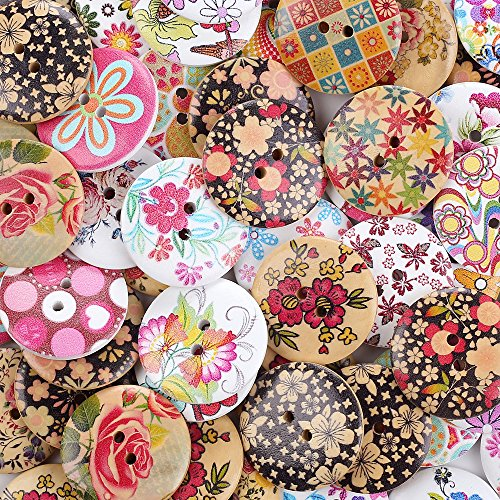 Crystallove Bulk 2 Holes 30mm Flower Buttons Mixed for Sewing Scrapbooking and DIY Craft (1.2