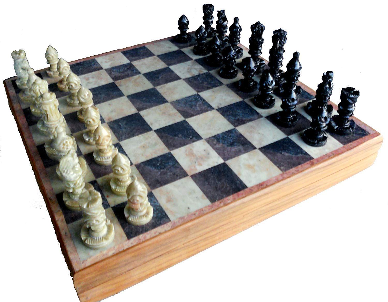 garantía de crédito 11.75  HandCocheved Chess Board with Wooden Wooden Wooden Base but Stone Inlaid Work - Chess Juego Board Set with Handcrafted Natural Stone Piece  en venta en línea