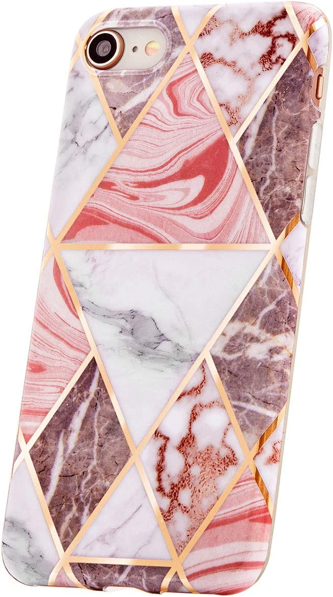 KEEPXYZ Handyh ü lle Compatible with iPhone SE 2020, iPhone 7.8 H ü lle Marble Rosa d u nn Silicone Schutzh ü lle TPU Bumper Case Glitter Pink Triangle Marble