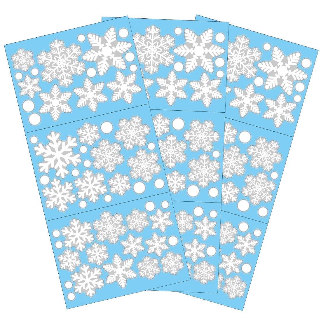 Tuopuda 81 Pcs Sticker Snowflakes Christmas Window Decoration DIY Xmas Window Decals Christmas Decorations Reusable Static Adhesive Sticker White