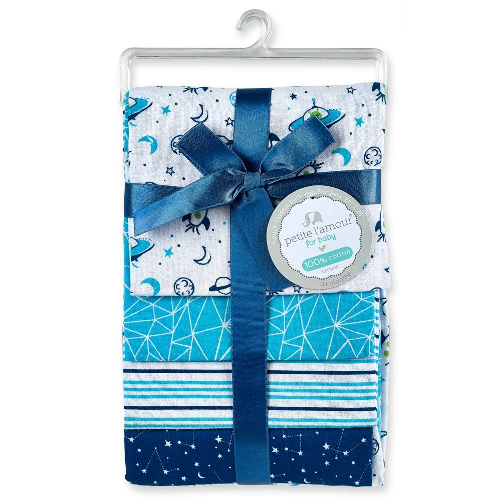 Cribmates 3 Pack Blue Receiving Blanket Set