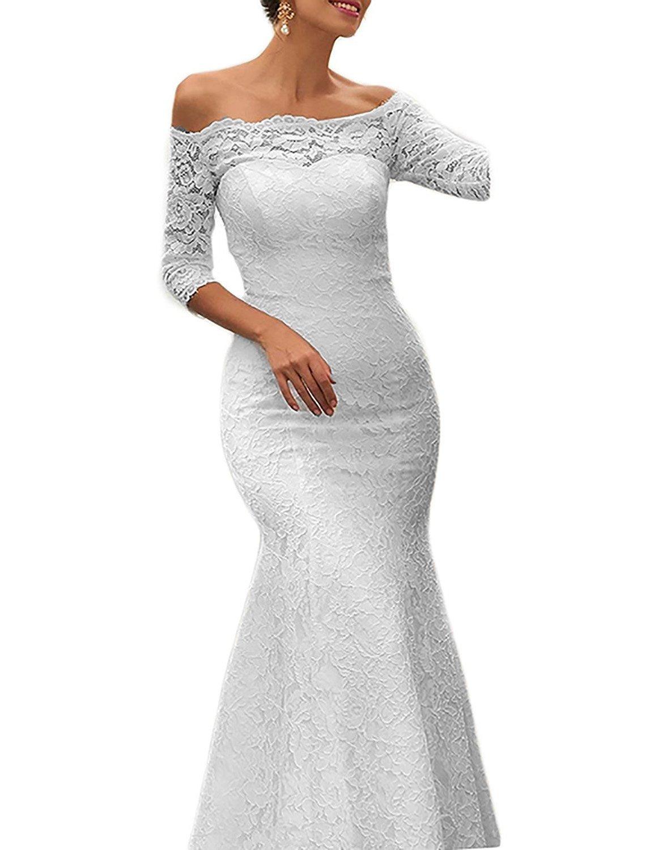 a92a37bb426 Pretygirl Womens Lace Mermaid Wedding Dresses Boat Neck Half Sleeve Evening  Dress (US 18W