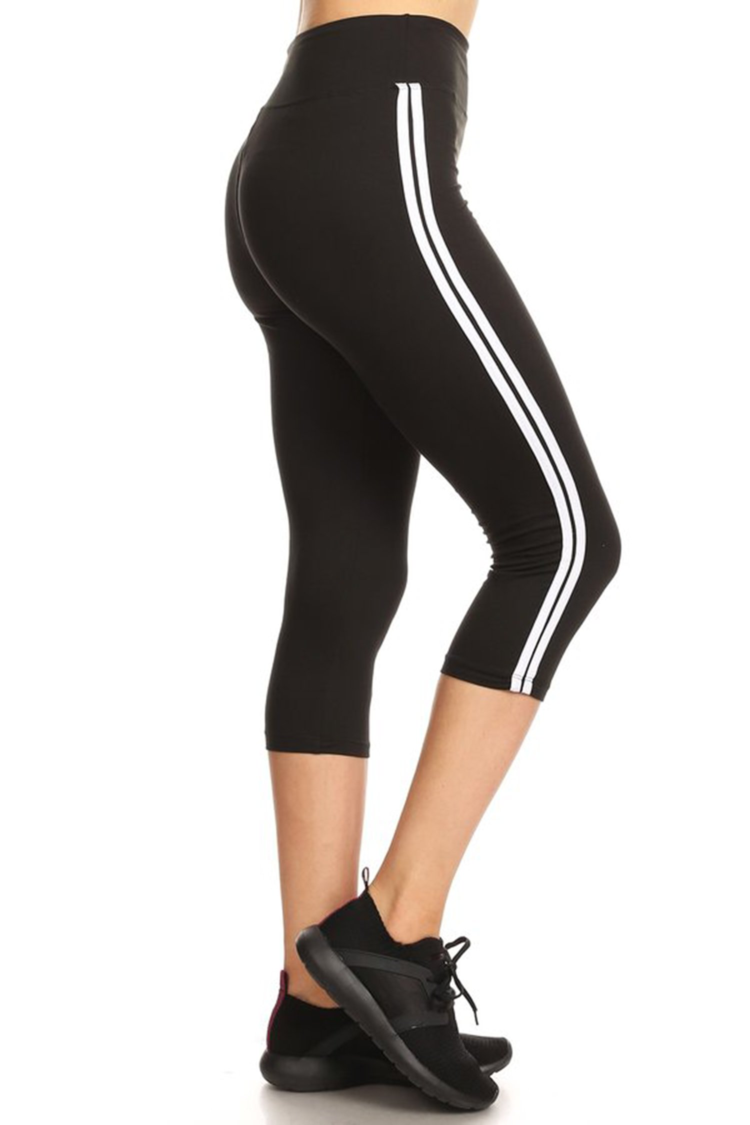 Leggings Mania Women's Plus Cropped Sport Striped High Waistband Leggings Black