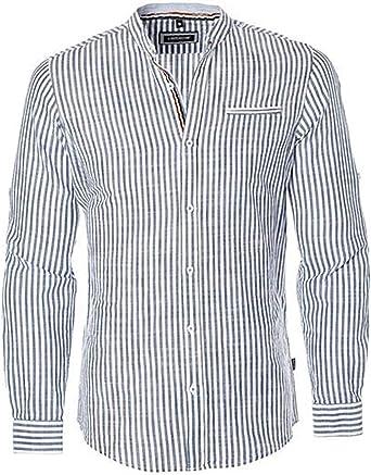 Carisma – Camisa para Hombre de diseño con Lino Negro/Blanco ...