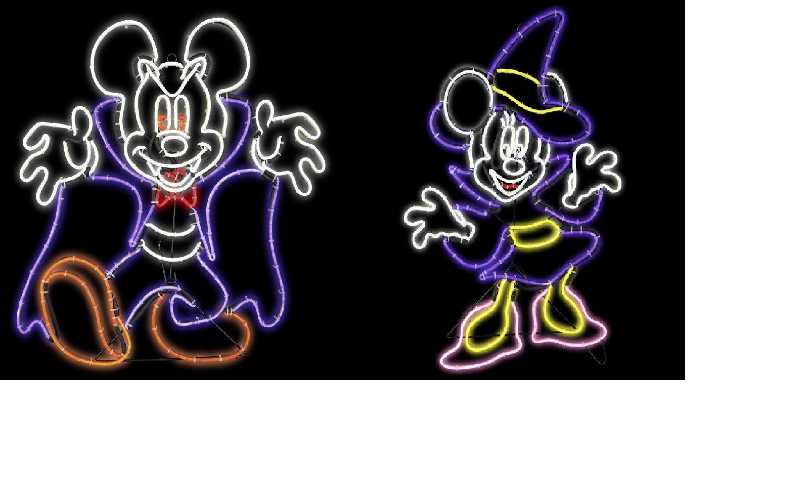 Disney Vampire Mickey & Witch Minnie Mouse Halloween Yard sculpture New Classic Vintage